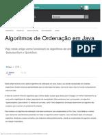 Algoritmos de Ordenação Em Java