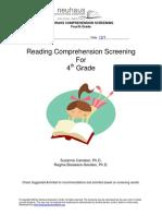 reading comprehension screening 4th grade