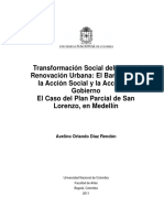 Transformación Social Del Hábitat Renovación Urbana El Caso Del Plan Parcial de San Lorenzo en Medellín