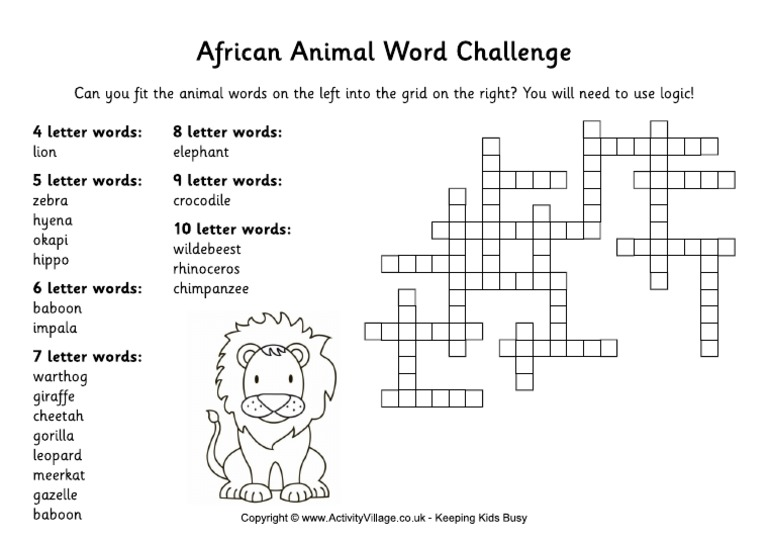 African Animal Word Challenge