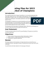 Marketing Plan_ Breakfast of Champions 2015