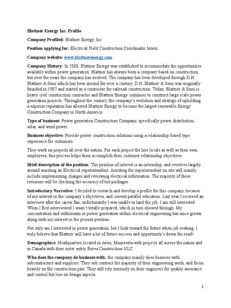 Fantastic Blattner Energy Resume Pattern - Administrative Officer ...