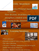 diversity awareness--- how diversity can strengthen each students sense of belonging in our classrooms
