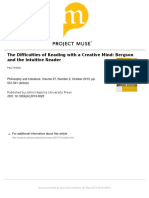 The difficulties of reading with a creative mind