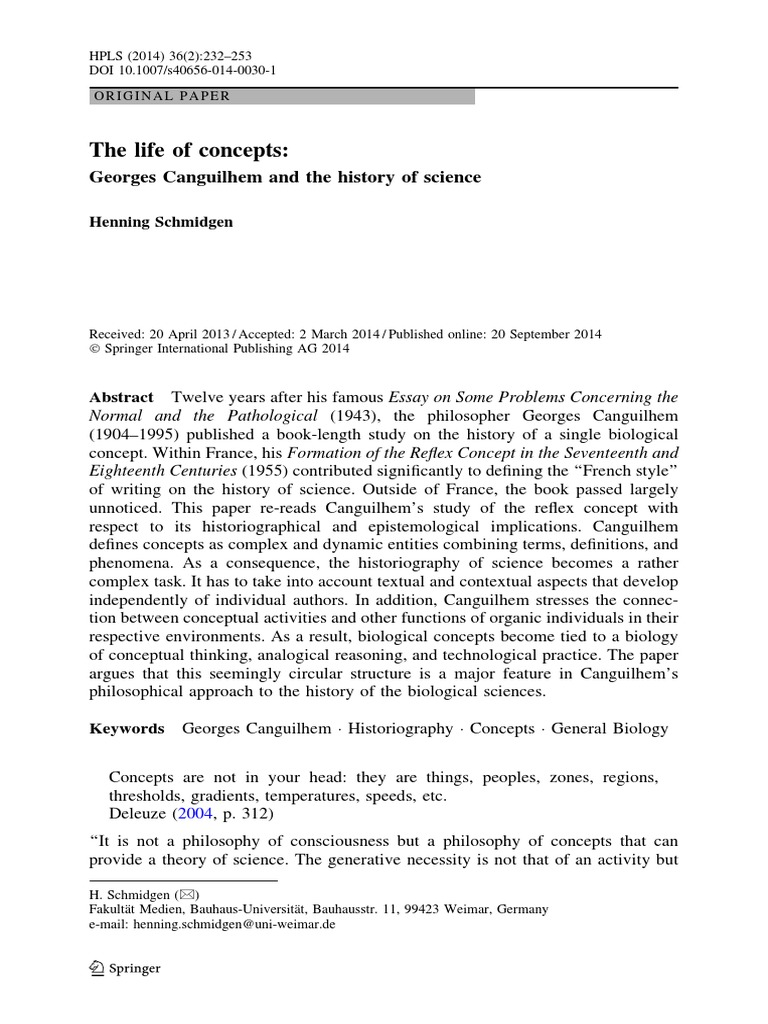 The Life Of Concepts Concept Phenomenology Philosophy