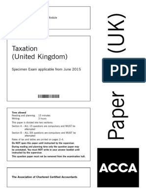 Model Exam ACCA F6 | United Kingdom Corporation Tax | Value