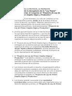 Nota de Prensa del Proyecto de Ley de 1er Empleo Digno y Productivo (2015-2016)