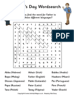 Fathers Day Word Search Solution
