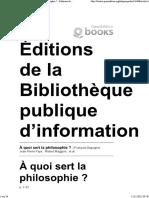 A Quoi Sert La Philosophie-François Dagognet