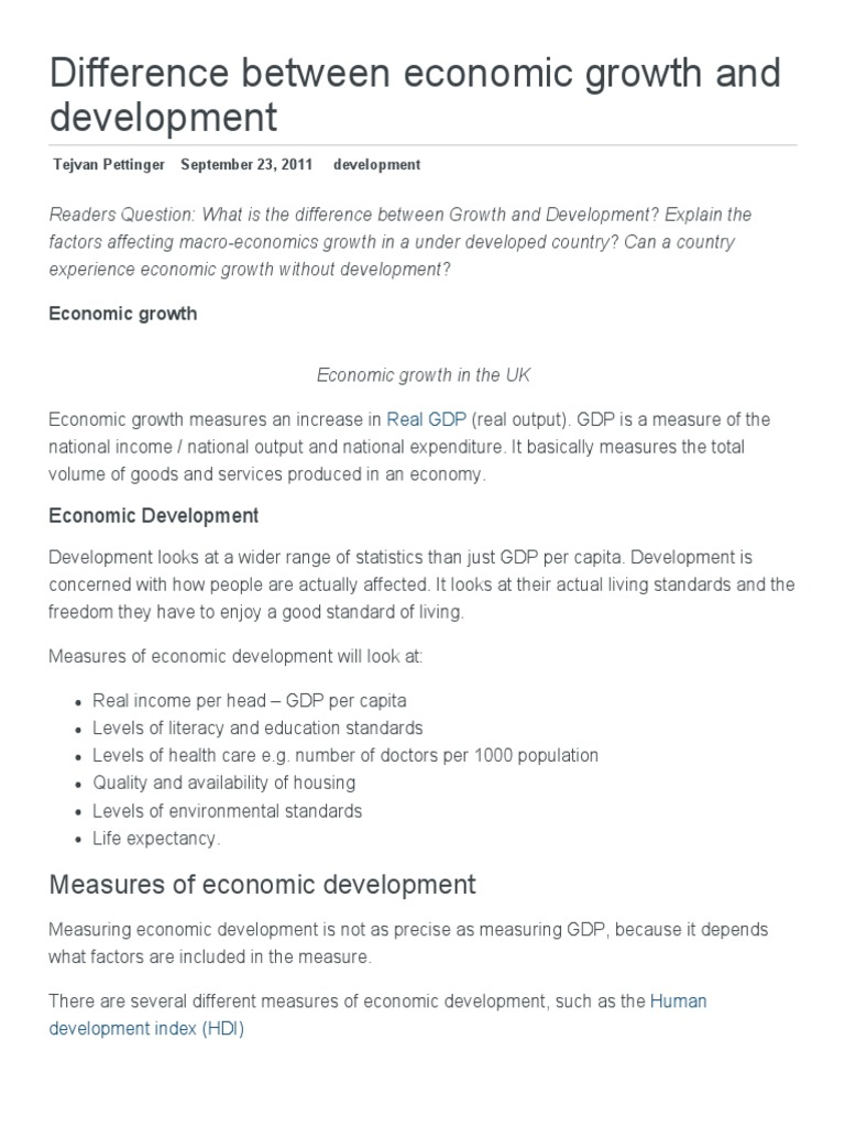 Difference Between Economic Growth And Development Economic Growth Gross Domestic Product