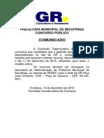 Comunicado sobre gabarito provisório - concurso de Ibicuitinga