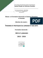 Brochure Master Arts Et Langages 2015-2016