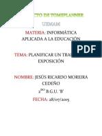 Proyecto de Tomsplanner Jesús Moreira 2do b.g.u. ''b''