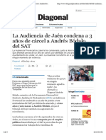 La Audiencia de Jaén condena a 3 años de cárcel a Andrés Bódalo, del SAT | Periódico Diagonal