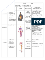 Body Systems Interactions Chart