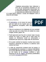 El concepto de factores psicosociales hace referencia a aquellas condiciones que se encuentran presentes en una situación laboral y que están directamente relacionadas con la organización.docx