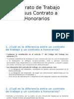 Contrato de Trabajo Versus Contrato a Honorarios