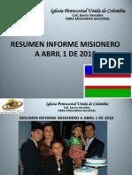 RESUMEN INFORME MISIONERO - CALI - Abril 1 de 2010
