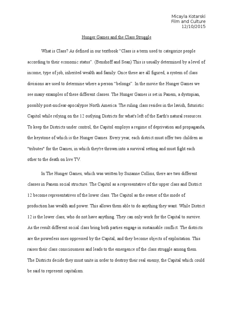 Hunger Games And The Clstruggle The Hunger Games Political Theories