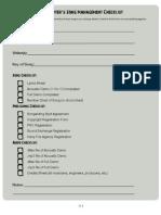 Song Management Checklist