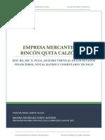 Al Rincón Quita Calzón, Estados Financieros - Comentario
