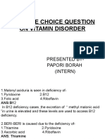 Multiple Choice Question on Vitamin Deficiency