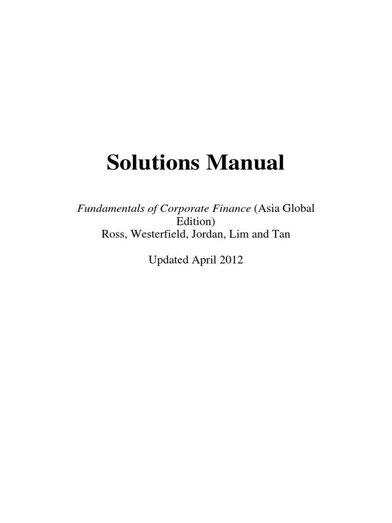 corporate finance asia edition solution manual stocks market rh scribd com corporate finance solutions manual 10th edition corporate finance solutions manual 10th edition