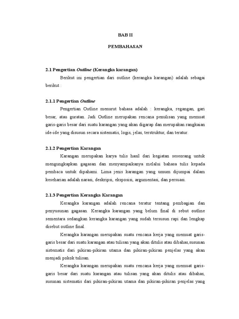 Laporan Kerangka Karangan Mkdu Bahasa
