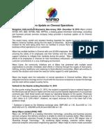 Wipro Update on Chennai Operations [Company Update]