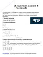 Mathematics Notes and Formula for Class 12 Chapter 4. Determinants