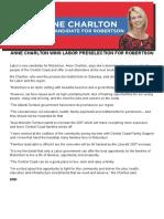 Media Release Anne Charlton Wins Labor Preselection for Robertson