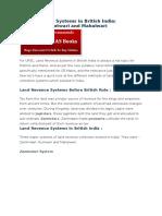 Land Revenue Systems in British India