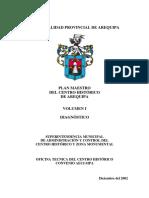 Plan Maestro Del Centro Historico de Arequipa 2002