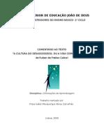 Cultura Do Desassossego - Comentário a um texto de Ruben de Freitas Cabral