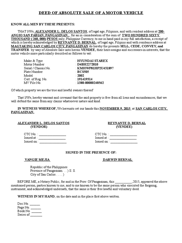 deed of absolute sale of a motor vehicle doc