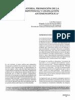 Función Regulatoria, Promoción de La Competencia y Legilslacion Antimonopólica