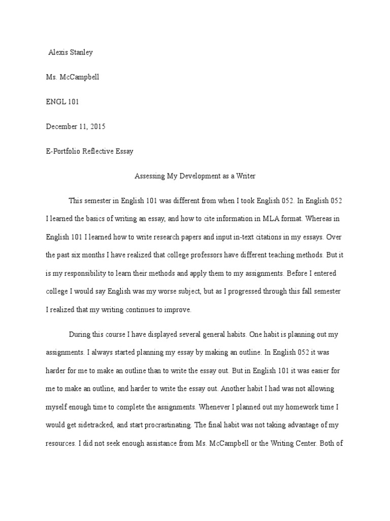 stanley alexis english  reflective essay  essays  homework