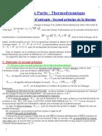 Bilans d'Entropie. Second Principe de Le Thermodynamique