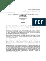 Solución  de ecuaciones lineales en base de diferencias finitas y programación