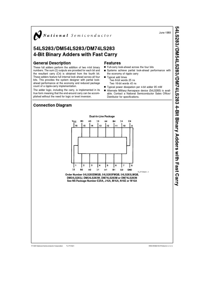 Integrado 74ls283 Bit Electronics 4 Adder Logic Diagram