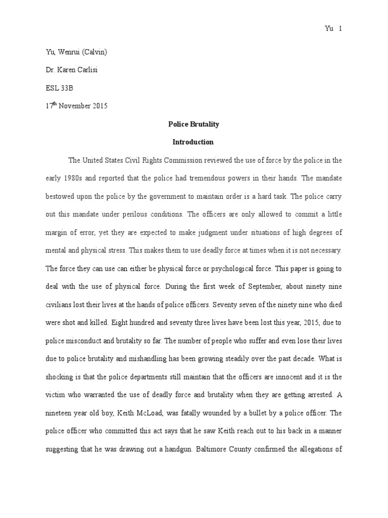 police officer research paper