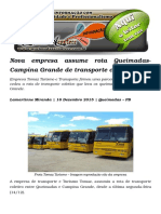 Nova Empresa Assume Rota Queimadas-Campina Grande de Transporte Coletivo
