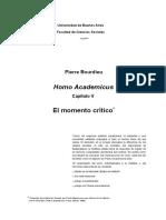 BOURDIEU, Pierre - Homo Academicus - El Momento Crítico