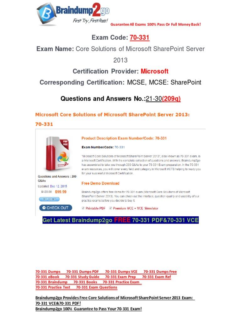 Freebraindump2go latest 70 331 exam questions 21 30 share point freebraindump2go latest 70 331 exam questions 21 30 share point test assessment 1betcityfo Choice Image