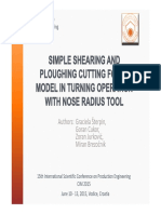 Simple Shearing and Ploughing Cutting Force Model In Turning Operation with Nose Radius Tool