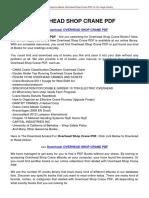 Overhead Shop Crane PDF