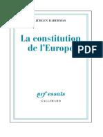 Jurgen Habermas - La Constitution de l'Europe