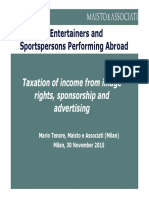 Taxation of Entertainers and Sportspersons Performing Abroad
