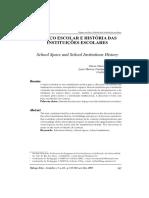 Espaço Escolar e História Das Instituições Escolares