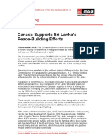 Canada Supports Sri Lanka's Peace-Building Efforts